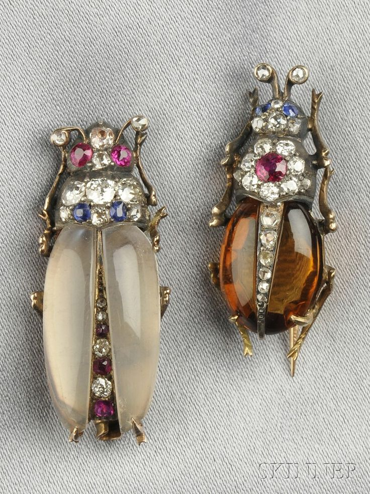 Antique gem-set Insect Brooches, with citron and moonstone bodies and ruby and s...