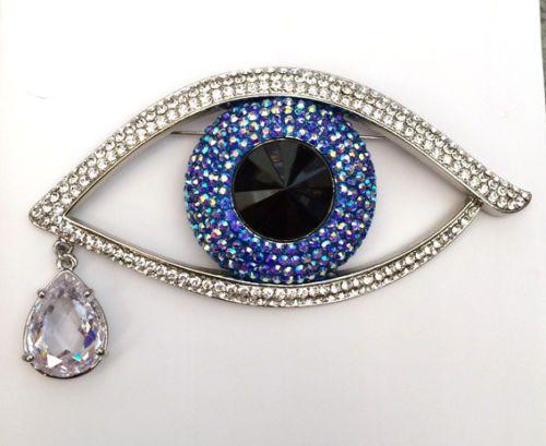 Butler and Wilson Large Crystal Enamel Eye Brooch
