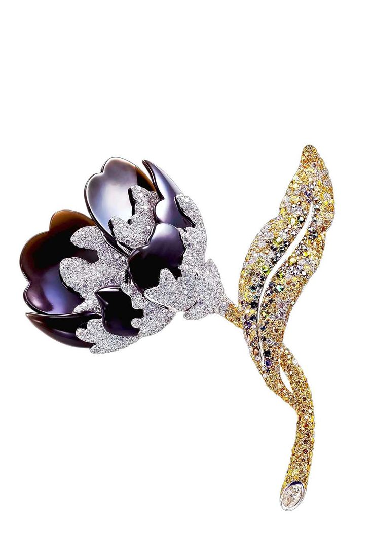 #CharaWen Life collection #Peony brooch with black obsidian, yellow and white #d...