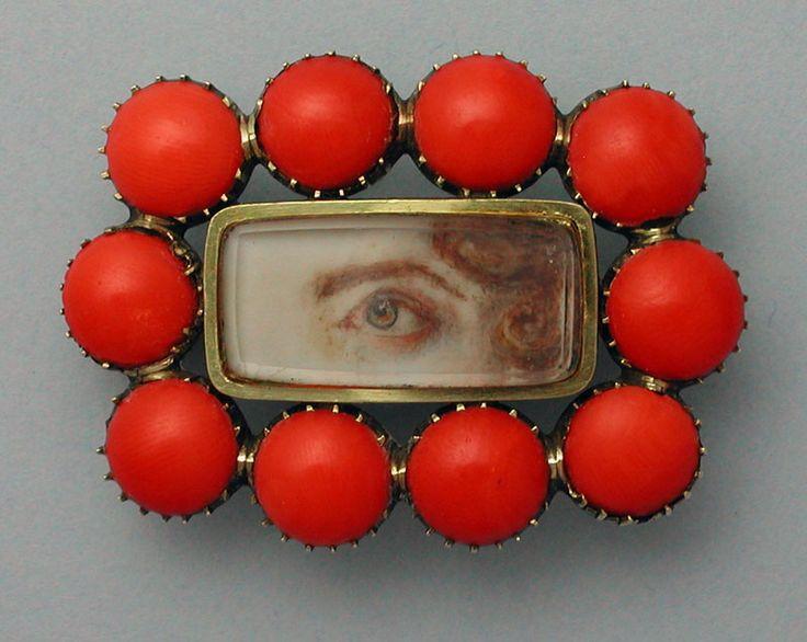 Coral Eye Portrait Brooch Georgian