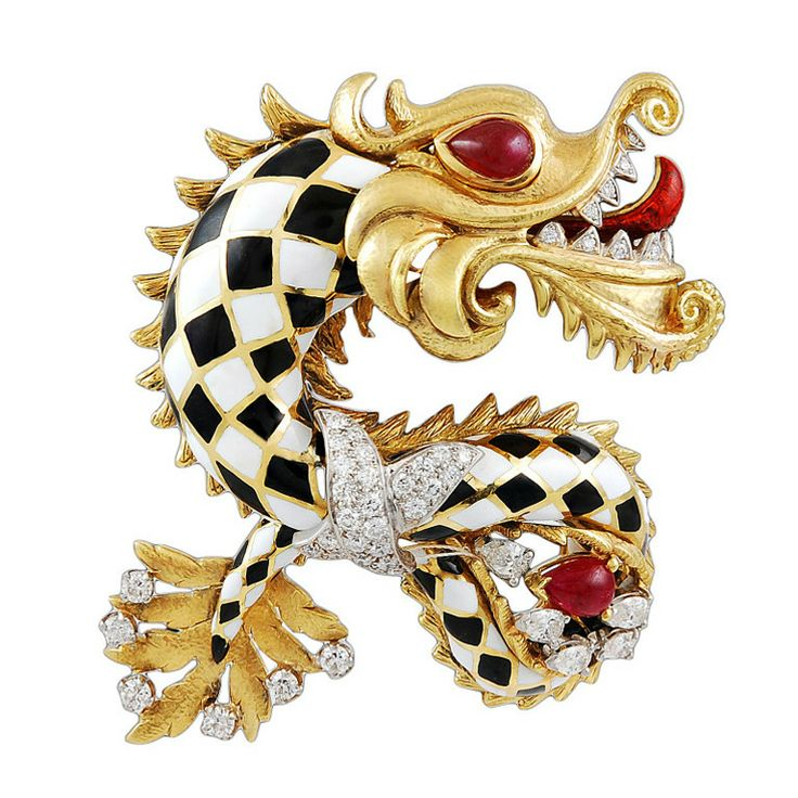 DAVID WEBB Diamond Enamel Chinese Dragon Pin | From a unique collection of vinta...