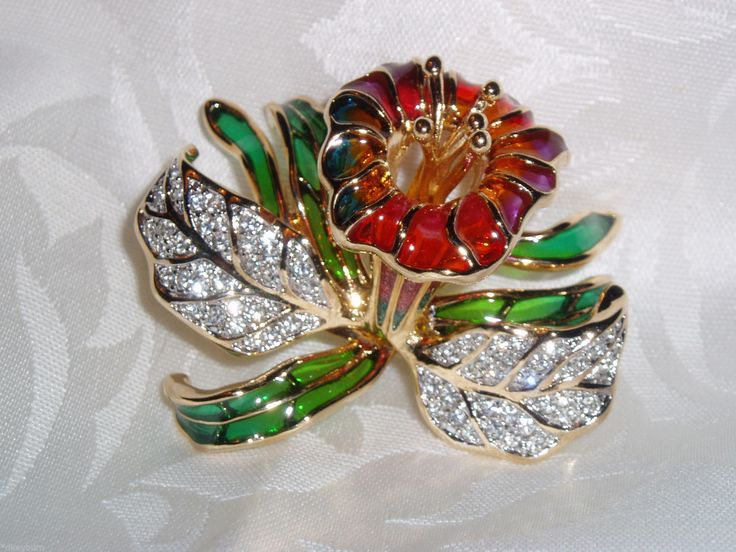 Exquisite Joan Rivers Crystal Stained Glass Style Orchid Pin Brooch | eBay