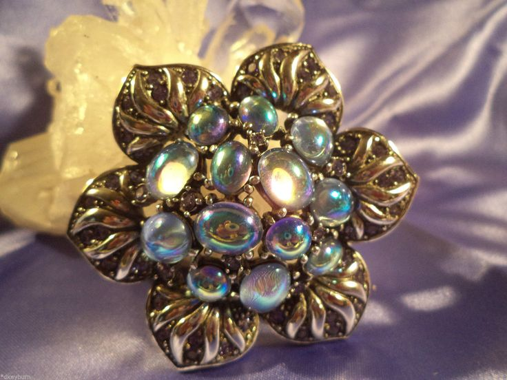 Gorgeous Joan Rivers Multi Color Cabochon Silver Setting Pin Brooch | eBay