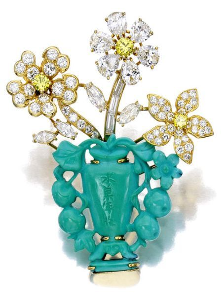 Gorgeous and Glamorous Diamond & Turquoise Brooch by Ruser