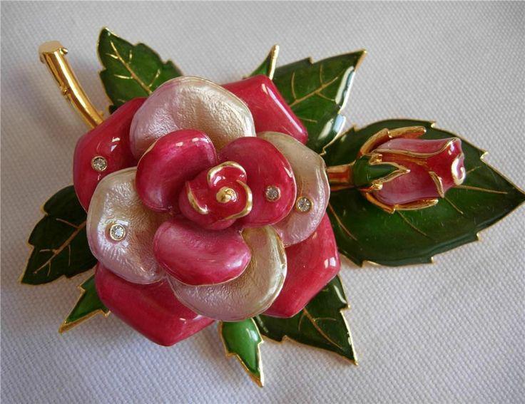Joan Rivers American Rose Pin Brooch Stunning | eBay
