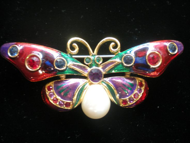 Large Joan Rivers Jeweled Butterfly Pin Brooch | eBay