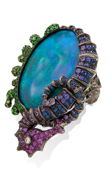 Lydia Courteille Under the Sea brooch with opals, sapphires, amethysts and a dia...