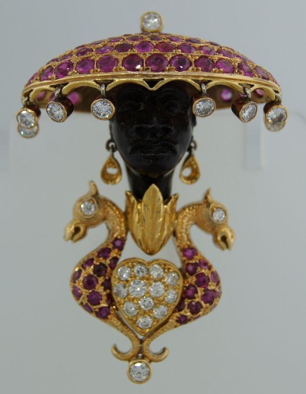NARDI Diamond Ruby Black Onyx Yellow Gold Blackamoor Pin Brooch i