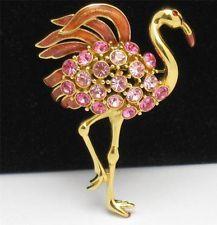 Pretty in PINK Designer Vintage TRIFARI Bird Brooch Pin Pink Rhinestone Enamel F...