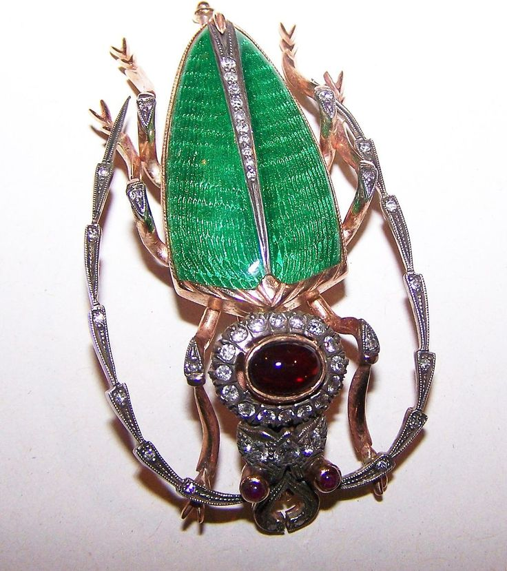 Stamped 56 (14K) Cerambycidae / Long Horned Beetle Brooch Enamel & Gemstones