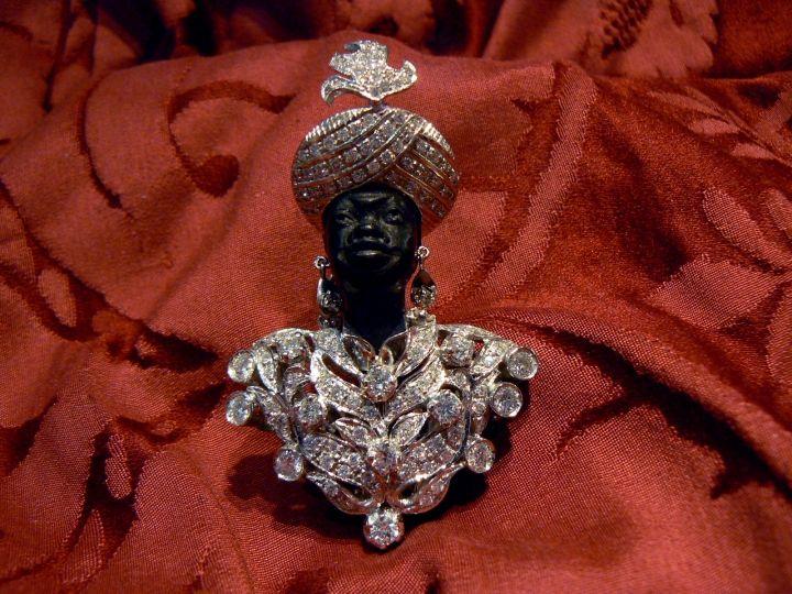 Super Luxury Blackamoor Brooche BIG LOVE W Gold 18 kt diamonds ebony - Dogale Je...