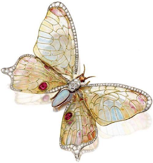 Lalique C1905 - Art Nouveau Jewellery made in vitreous enamelling technique Pliq...