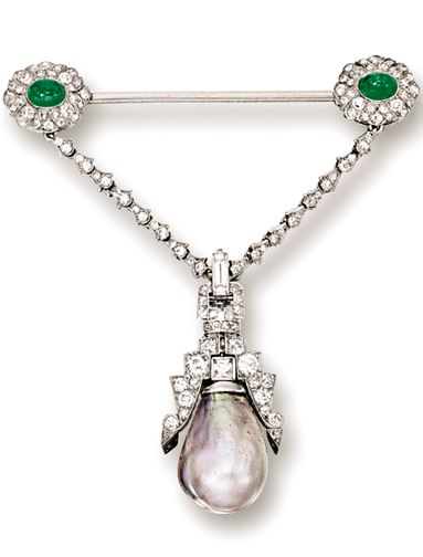 NATURAL PEARL, EMERALD AND DIAMOND BROOCH, CIRCA 1910 The pendant suspending on ...