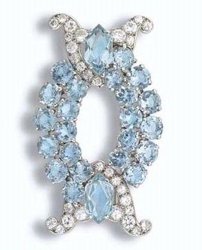 Princess Margaret's Cartier Aquamarine and Diamond Brooch. Made by Cartier L...