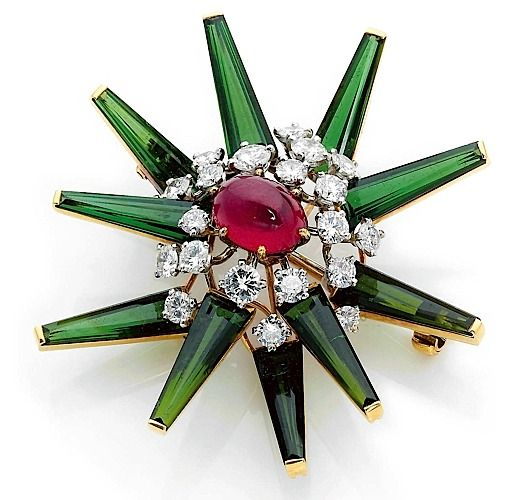 Red, green tourmaline, diamond and platinum gold brooch by Cartier