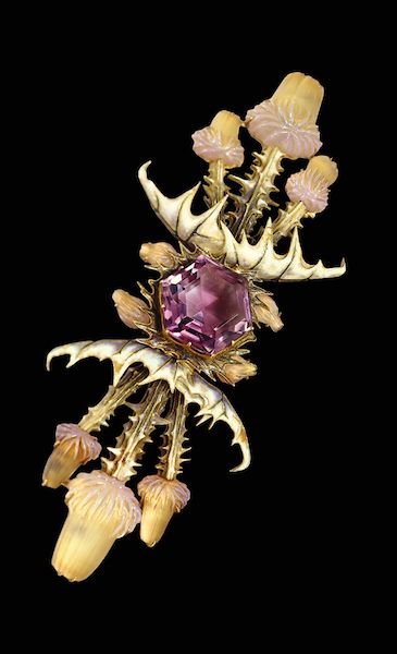 Thistle brooch of gold, amethyst, molded glass and enamel by René Lalique, c. 1...