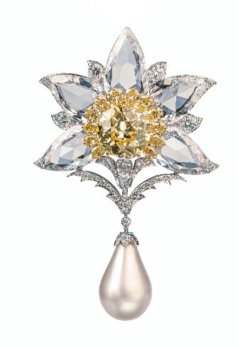 Brooches Viren Bhagat Yellow Diamond Diamond Amp Pearl