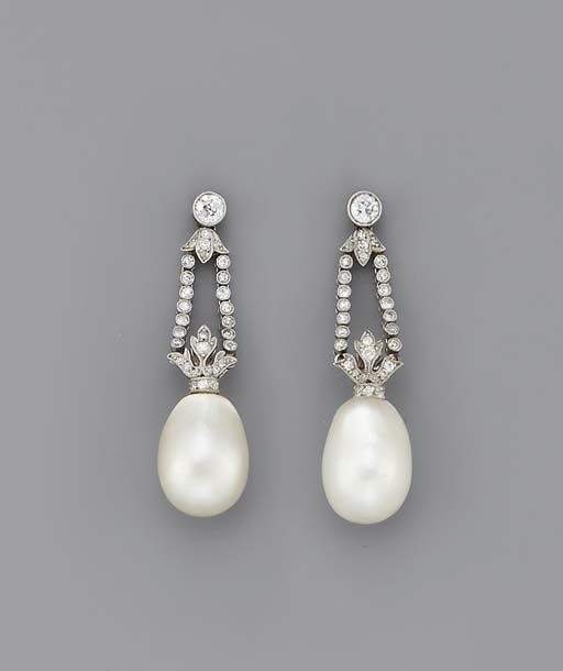 A PAIR OF BELLE EPOQUE PEARL & DIAMOND EAR PENDANTS   Each composed of a pearl d...