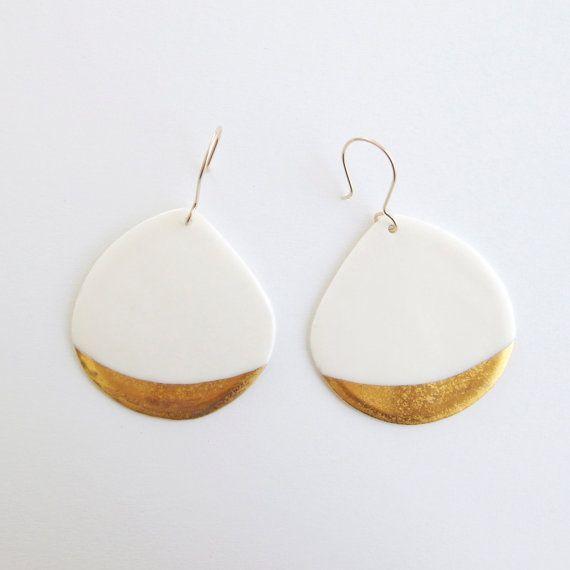 A n a ï s - Bijou céramique - Boucles d'oreilles blanches en porcelaine, m...