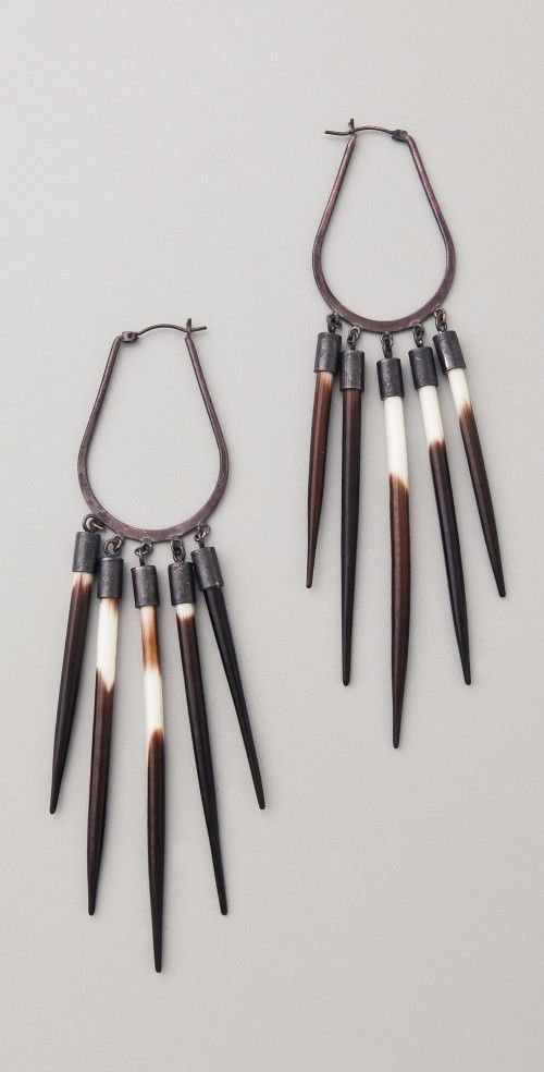 African Sunburst Earrings, made from sterling silver and porcupine quills. By Kr...