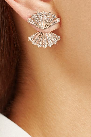 Rose gold, diamond studded fan earrings. Interesting design! #diamond #earrings ...