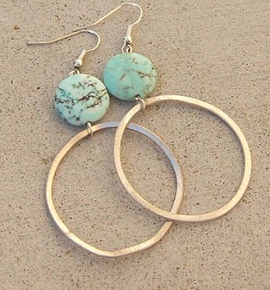 BIG AQUA BLUE COIN TURQUOISE EARRINGS BRUSHED SILVER HOOP LONG LARGE JEWELRY | e...