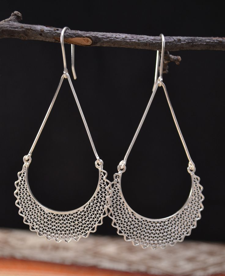 Beautiful design of silver earrings handmade by Ecuadorian artisans, Because the...