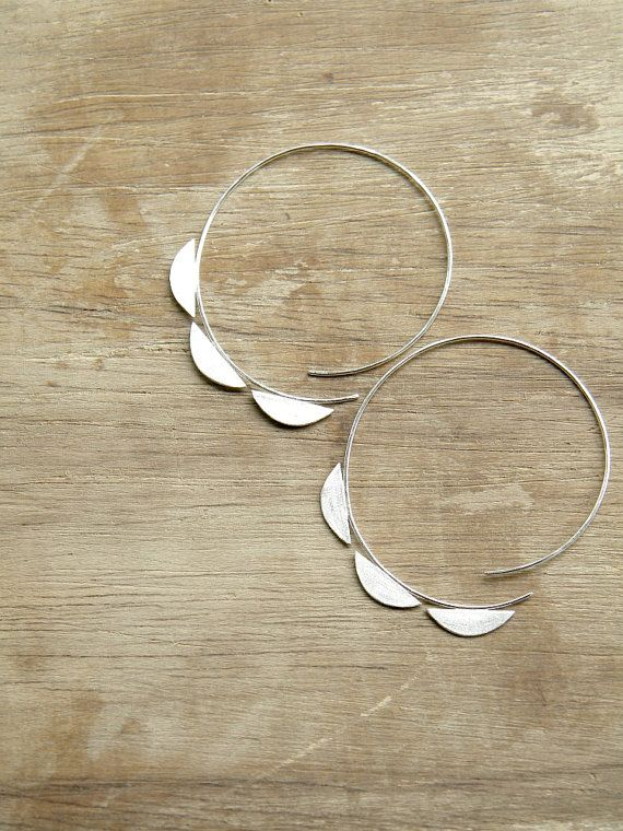 Big Half Moons Open Hoops - handmade solid silver hoop earrings, 80s, geometric,...