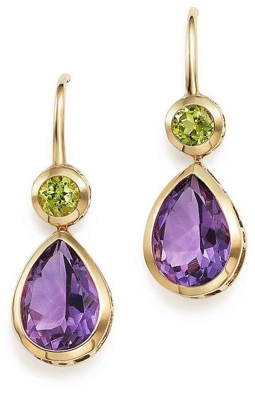 Bloomingdale's Amethyst and Peridot Drop Earrings in 14K Yellow Gold - 100% ...