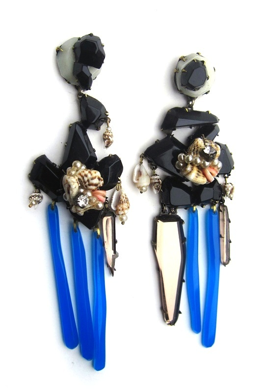 Blue earrings by Nikki Coupee, made with plexiglass, shells, faux pearls, sterli...