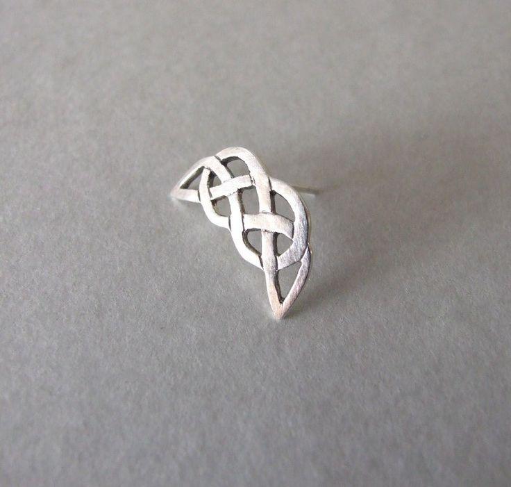 Celtic Moon Helix earring - helix earring , silver cartilage earring , silver ea...