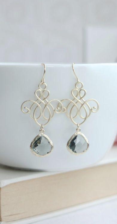 Gold Grey Vanetian, Morroccon Victorian Chandelier Filigree Earrings. Black Diam...