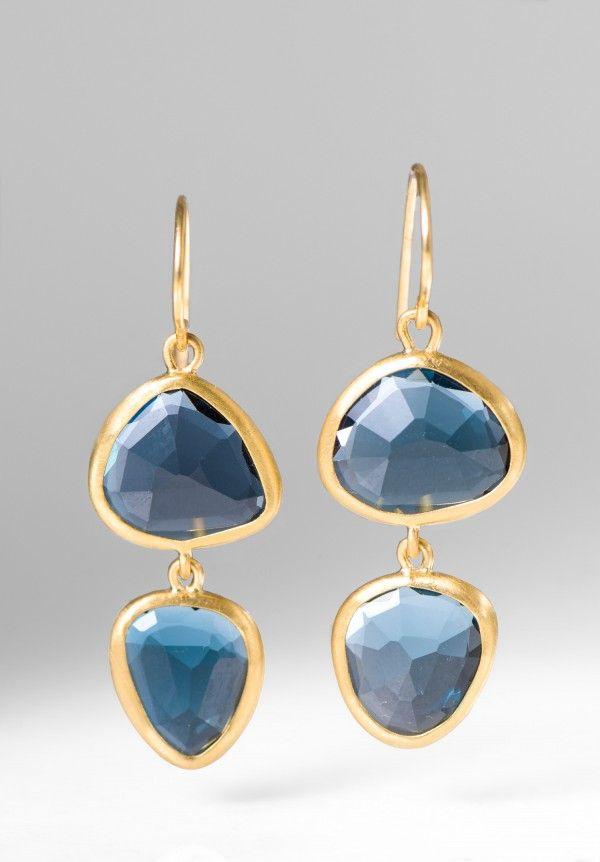 Greig Porter 22k, Double Drop London Blue Topaz Earrings | ♦F&I♦