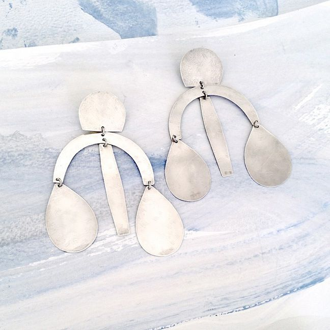 Image of Arc Drop Earrings - Silver
