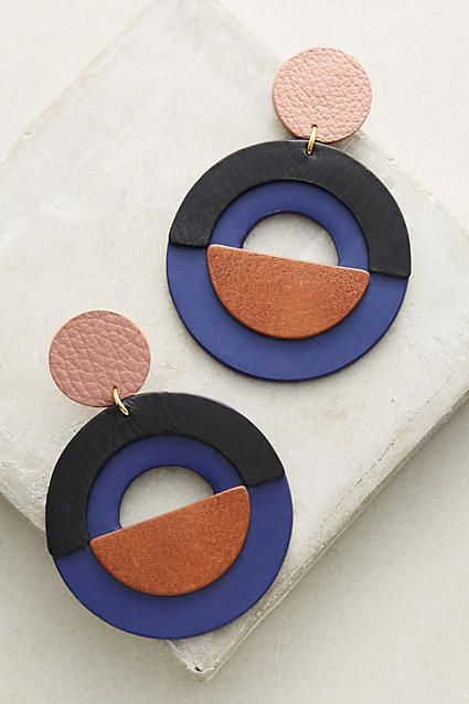 Nora Lozza Amara Earrings - geometric mod circle dangle bold statement leather e...