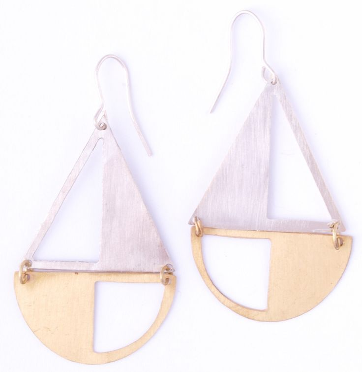 Opposites Attract Silver and Gold Brass Fair Trade Earrings - Bombay Bongo Uniqu...