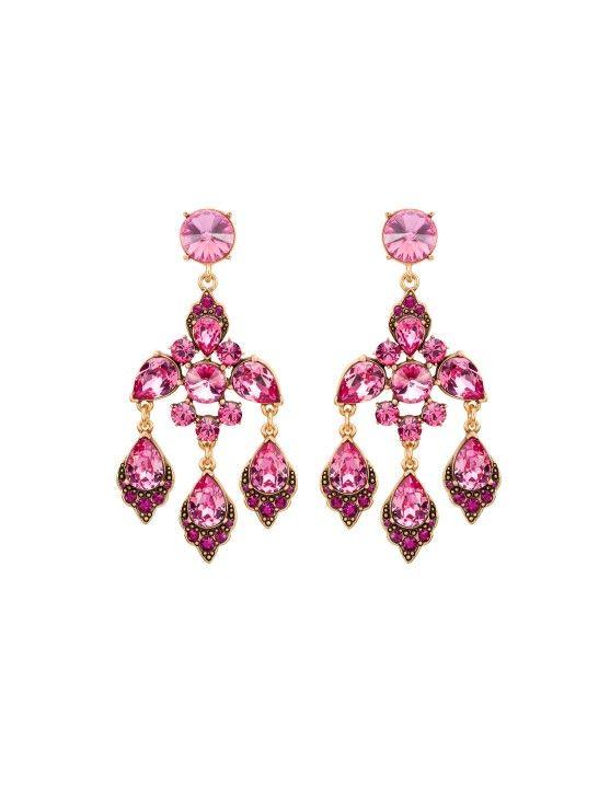 Oscar de la Renta 2014 - Magenta Swarovski Crystal Chandelier Earrings