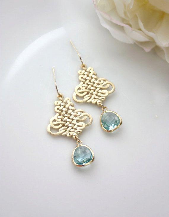 Pendientes de boda, pendientes de novia pendientes azul Aqua, azul filigranas or...
