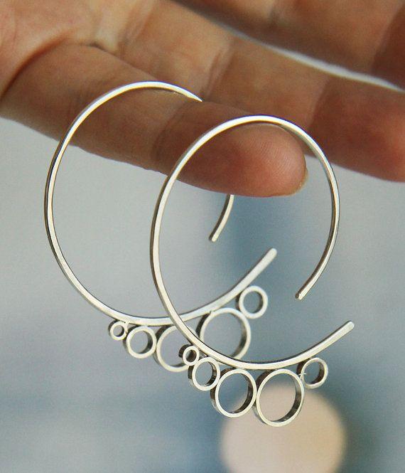 Bubble orecchini di argento sterling - Cerchi Cerchi grande calibro infila - fat...