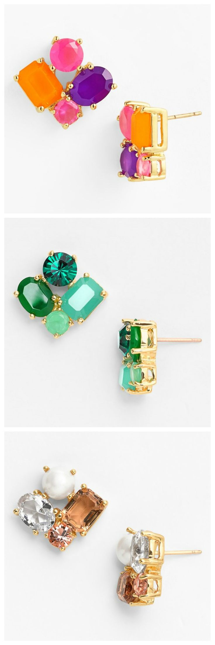Pretty clusters of sparkly gems   Kate Spade stud earrings. rstyle.me/...