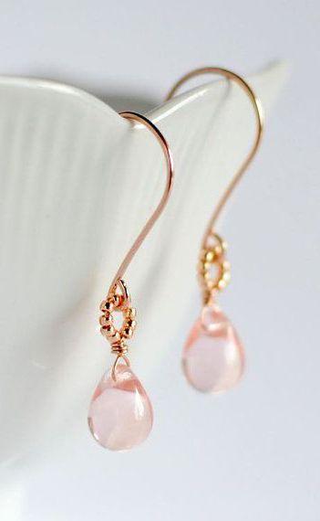 Rose gold earrings pink glass earrings rose | ♦F&I♦