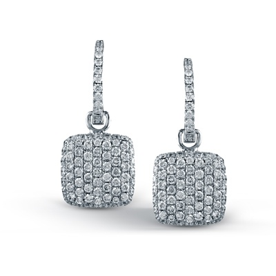 These striking 18K white earrings are comprised of 1.31ctw round white Diamonds....