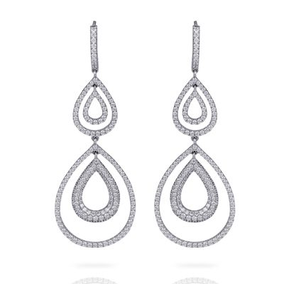 These striking 18K white earrings are comprised of 2.53ctw round white Diamonds ...