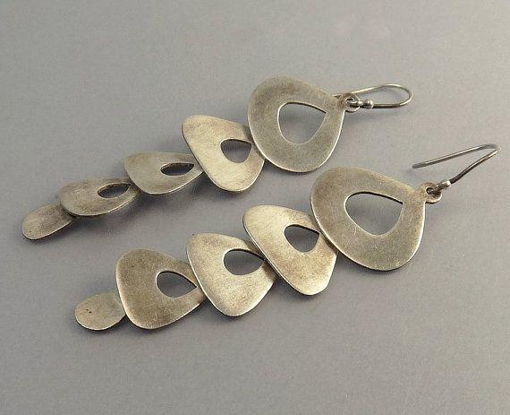 Vintage Jane Diaz Sterling Silver Modernist Earrings by jujubee1