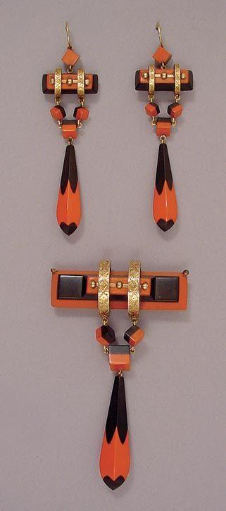 Vintage Vulcanite Demi-Parure #earrings ♦F&I♦