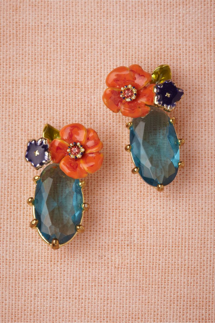 bejeweled earrings with flowers |♦F&I♦