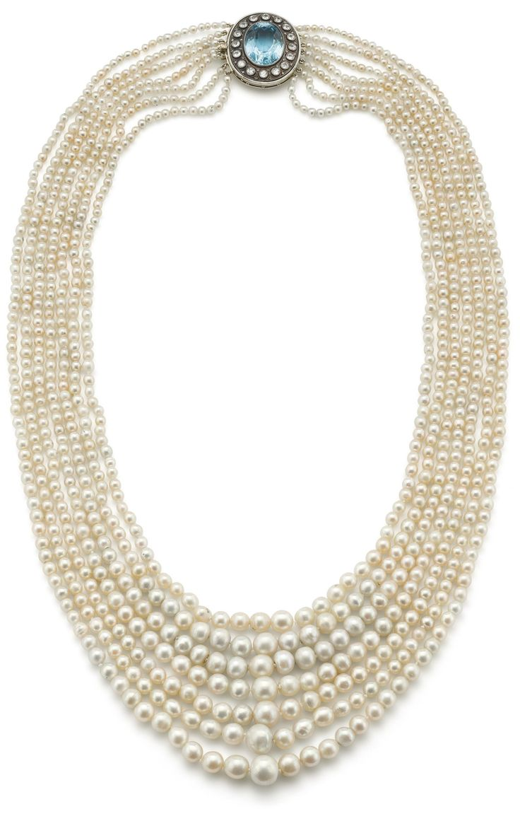 A natural pearl, aquamarine and diamond necklace The seven rows of gently gradua...