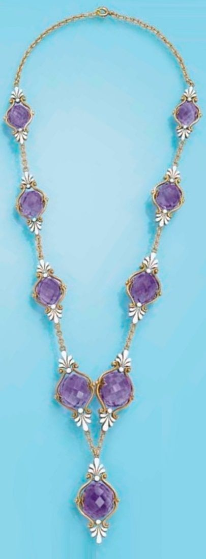 AN ANTIQUE AMETHYST AND ENAMEL NECKLACE, CIRCA 1900. Designed as nine briolette-...