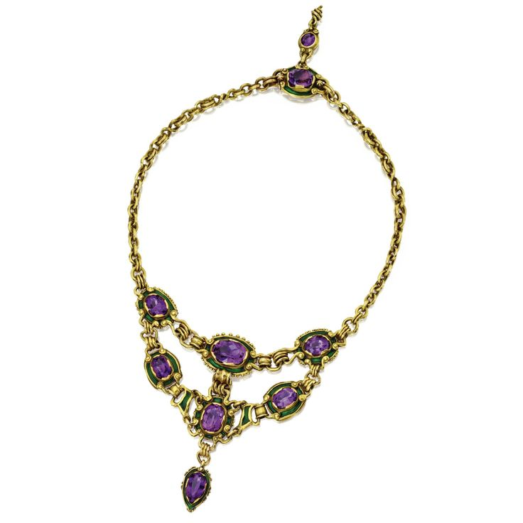 Amethyst, enamel and god necklace, by Marcus & Co., circa 1900.