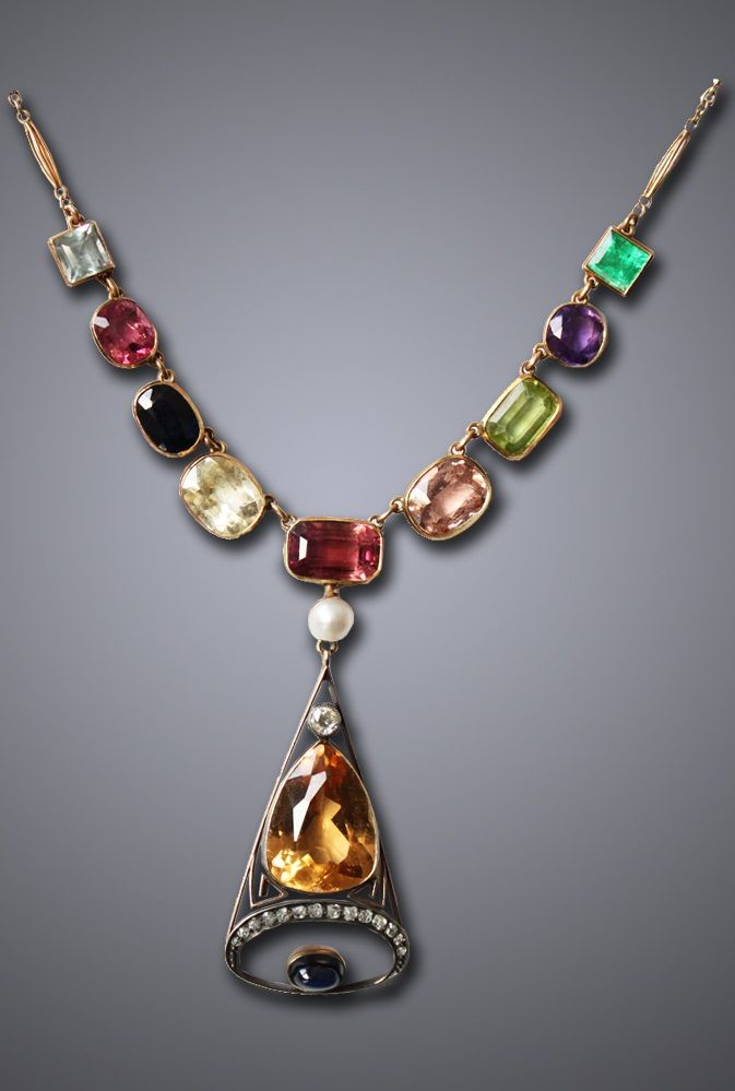 An antique gold, imperial topaz and gem-set necklace, Russian, circa 1890. #anti...